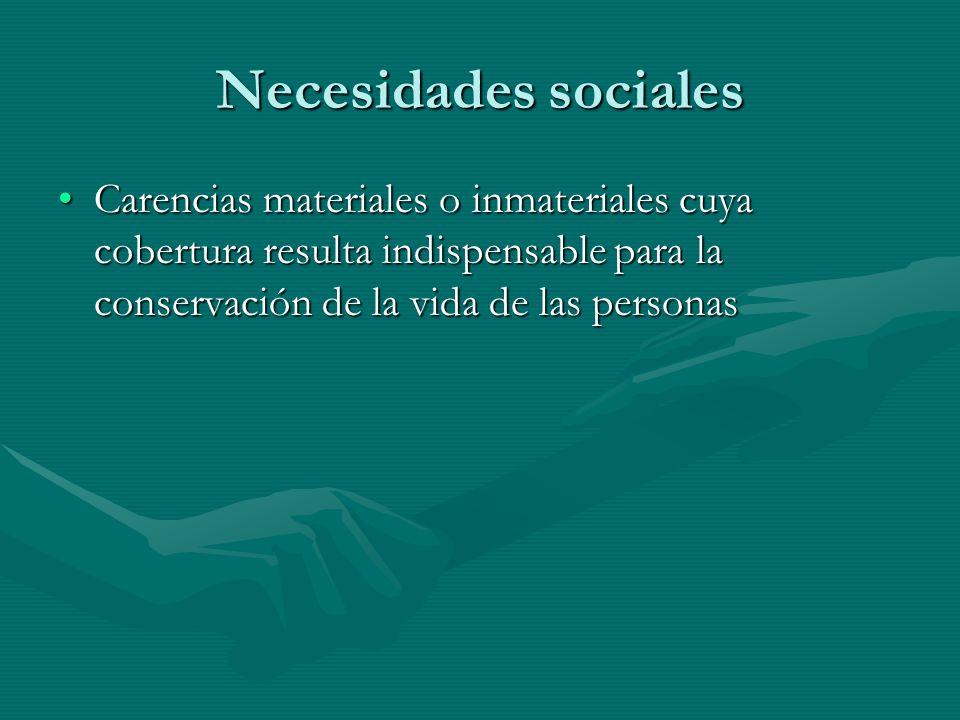 Necesidades sociales Carencias materiales o inmateriales cuya cobertura resulta indispensable para la conservación de la vida de las personasCarencias materiales o inmateriales cuya cobertura resulta indispensable para la conservación de la vida de las personas