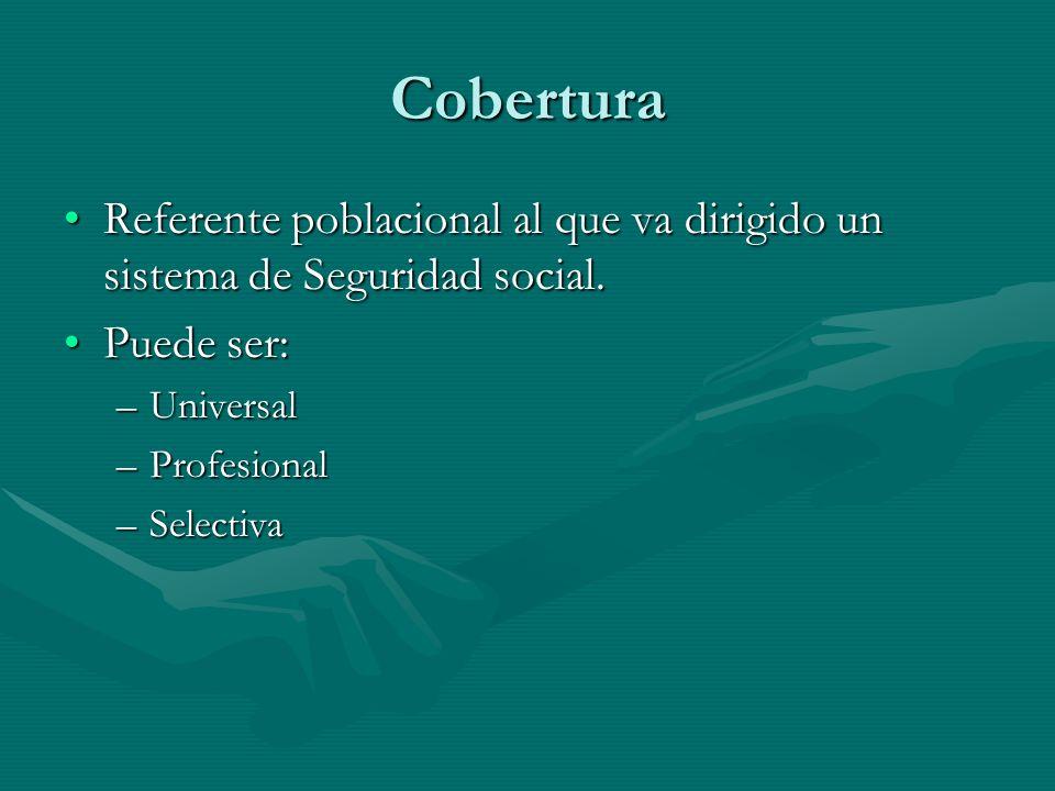 Cobertura Referente poblacional al que va dirigido un sistema de Seguridad social.Referente poblacional al que va dirigido un sistema de Seguridad social.