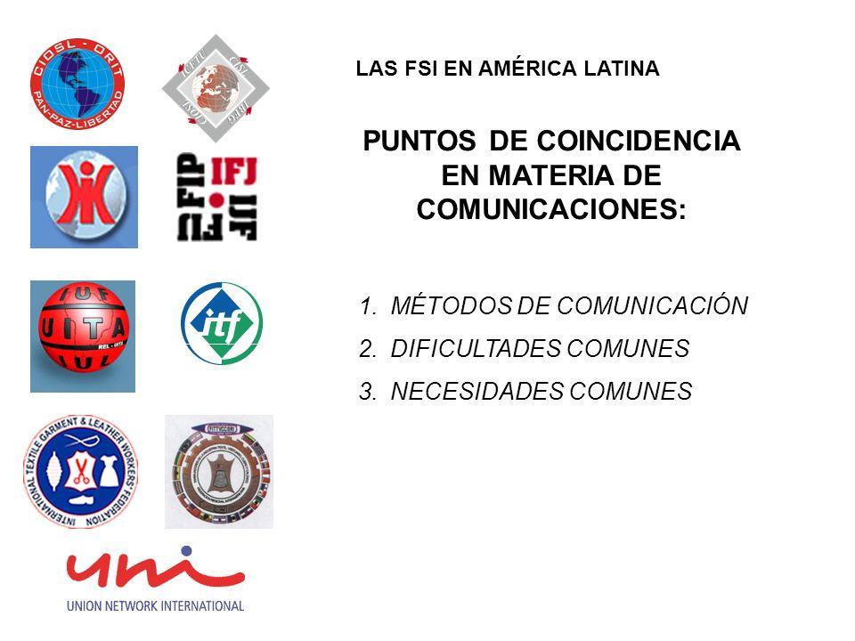PUNTOS DE COINCIDENCIA EN MATERIA DE COMUNICACIONES: 1.MÉTODOS DE COMUNICACIÓN 2.DIFICULTADES COMUNES 3.NECESIDADES COMUNES LAS FSI EN AMÉRICA LATINA