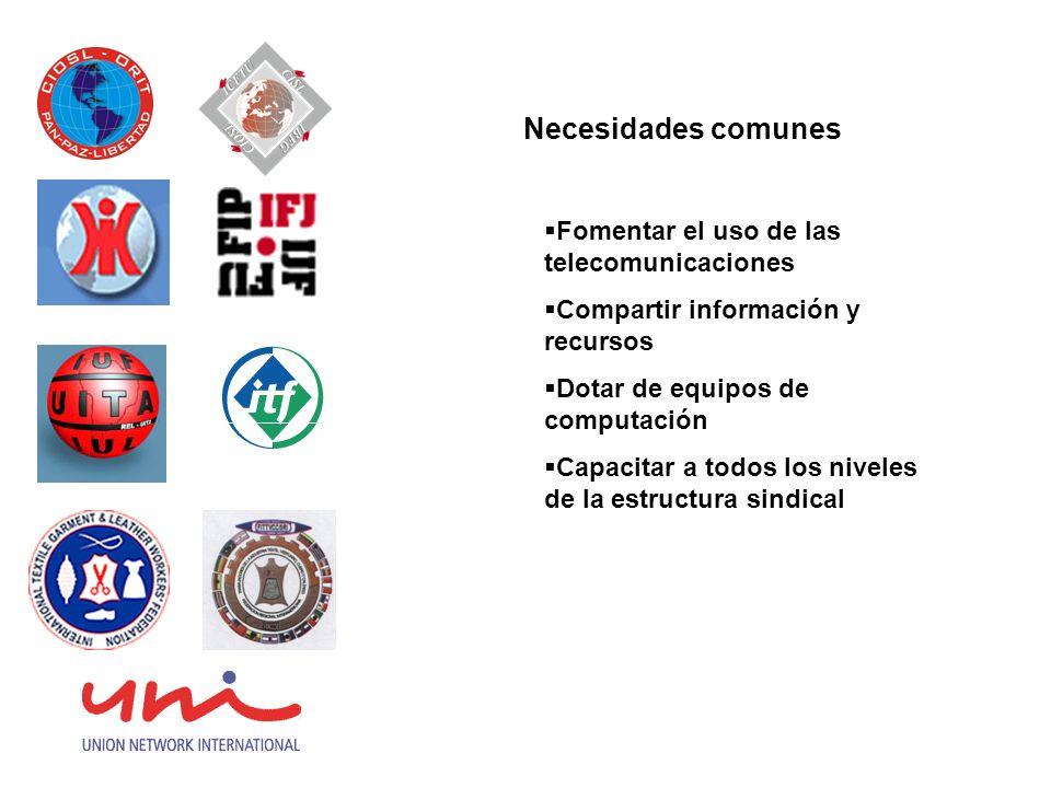 Necesidades comunes Fomentar el uso de las telecomunicaciones Compartir información y recursos Dotar de equipos de computación Capacitar a todos los n