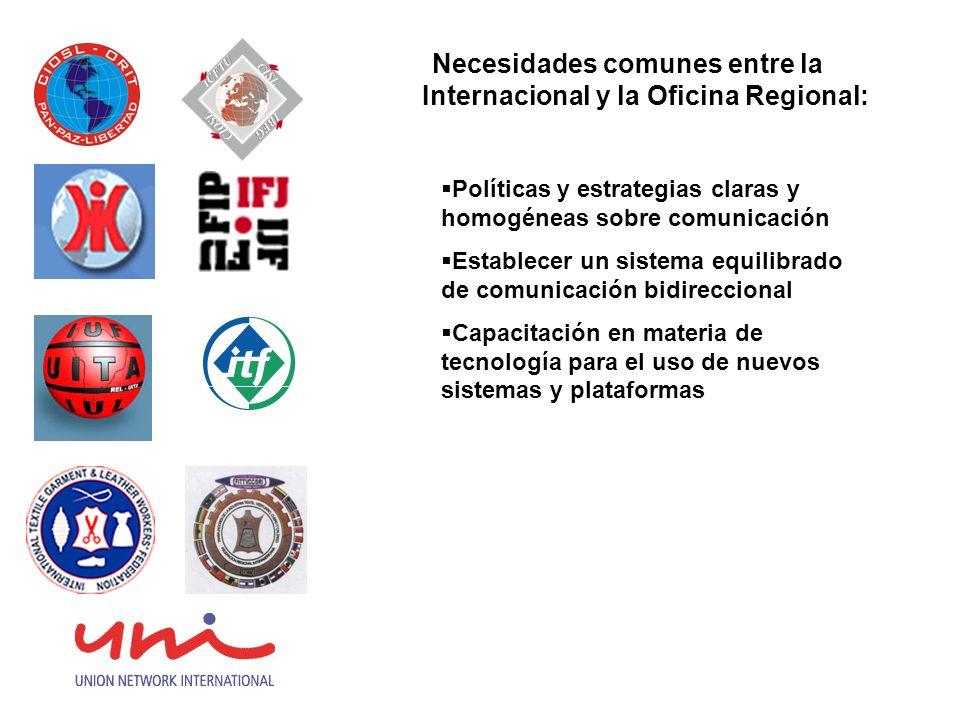 Necesidades comunes entre la Internacional y la Oficina Regional: Políticas y estrategias claras y homogéneas sobre comunicación Establecer un sistema
