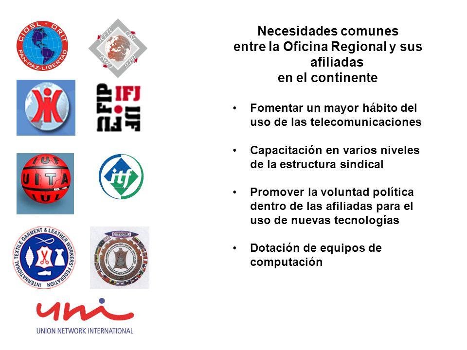 Necesidades comunes entre la Oficina Regional y sus afiliadas en el continente Fomentar un mayor hábito del uso de las telecomunicaciones Capacitación