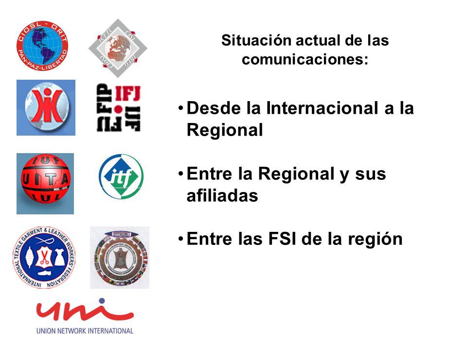 Necesidades comunes entre la Internacional y la Oficina Regional: Políticas y estrategias claras y homogéneas sobre comunicación Establecer un sistema equilibrado de comunicación bidireccional Capacitación en materia de tecnología para el uso de nuevos sistemas y plataformas