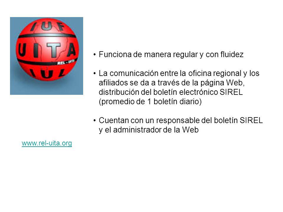 Funciona de manera regular y con fluidez La comunicación entre la oficina regional y los afiliados se da a través de la página Web, distribución del b