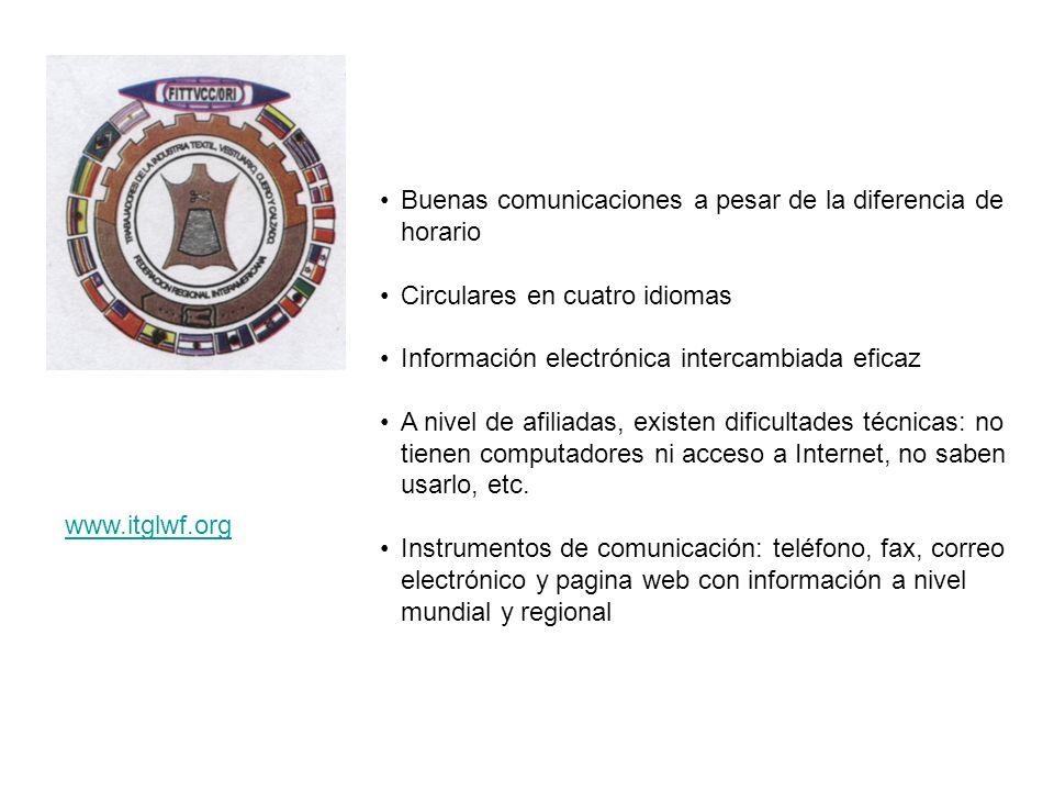 Buenas comunicaciones a pesar de la diferencia de horario Circulares en cuatro idiomas Información electrónica intercambiada eficaz A nivel de afiliad