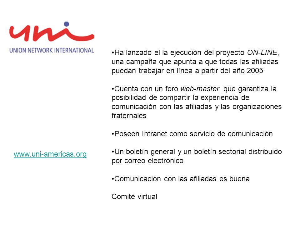 Ha lanzado el la ejecución del proyecto ON-LINE, una campaña que apunta a que todas las afiliadas puedan trabajar en línea a partir del año 2005 Cuent