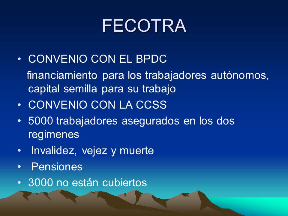 FECOTRA CONVENIO CON EL BPDC financiamiento para los trabajadores autónomos, capital semilla para su trabajo CONVENIO CON LA CCSS 5000 trabajadores as