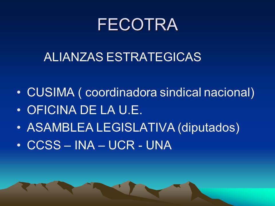 FECOTRA ALIANZAS ESTRATEGICAS CUSIMA ( coordinadora sindical nacional) OFICINA DE LA U.E. ASAMBLEA LEGISLATIVA (diputados) CCSS – INA – UCR - UNA