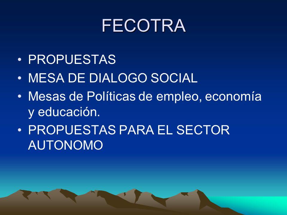 FECOTRA PROPUESTAS MESA DE DIALOGO SOCIAL Mesas de Políticas de empleo, economía y educación. PROPUESTAS PARA EL SECTOR AUTONOMO