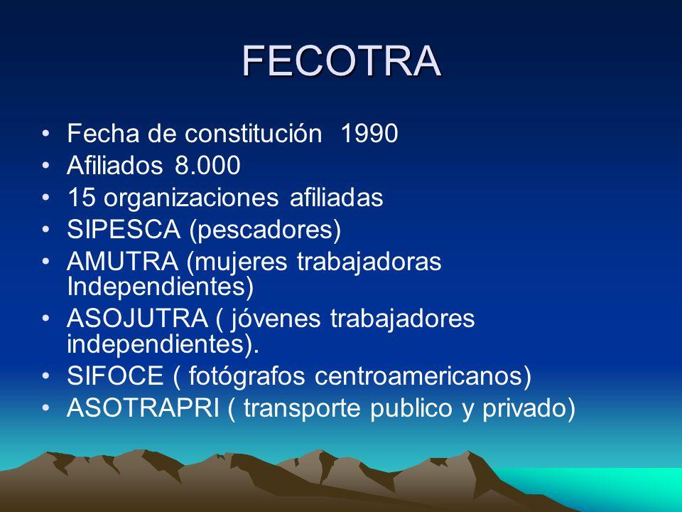 FECOTRA Fecha de constitución 1990 Afiliados 8.000 15 organizaciones afiliadas SIPESCA (pescadores) AMUTRA (mujeres trabajadoras Independientes) ASOJU