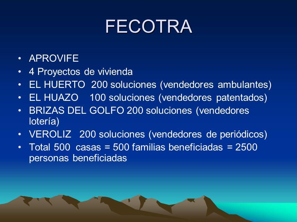 FECOTRA APROVIFE 4 Proyectos de vivienda EL HUERTO 200 soluciones (vendedores ambulantes) EL HUAZO 100 soluciones (vendedores patentados) BRIZAS DEL G