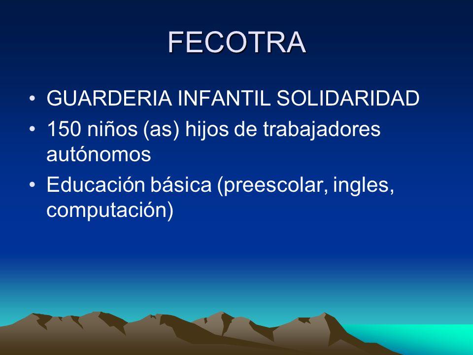 FECOTRA GUARDERIA INFANTIL SOLIDARIDAD 150 niños (as) hijos de trabajadores autónomos Educación básica (preescolar, ingles, computación)