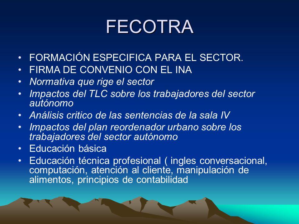 FECOTRA FORMACIÓN ESPECIFICA PARA EL SECTOR. FIRMA DE CONVENIO CON EL INA Normativa que rige el sector Impactos del TLC sobre los trabajadores del sec