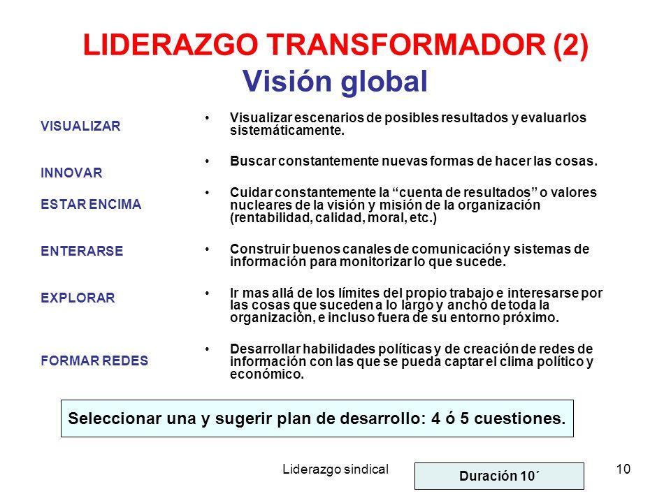 Liderazgo sindical10 LIDERAZGO TRANSFORMADOR (2) Visión global VISUALIZAR INNOVAR ESTAR ENCIMA ENTERARSE EXPLORAR FORMAR REDES Visualizar escenarios d