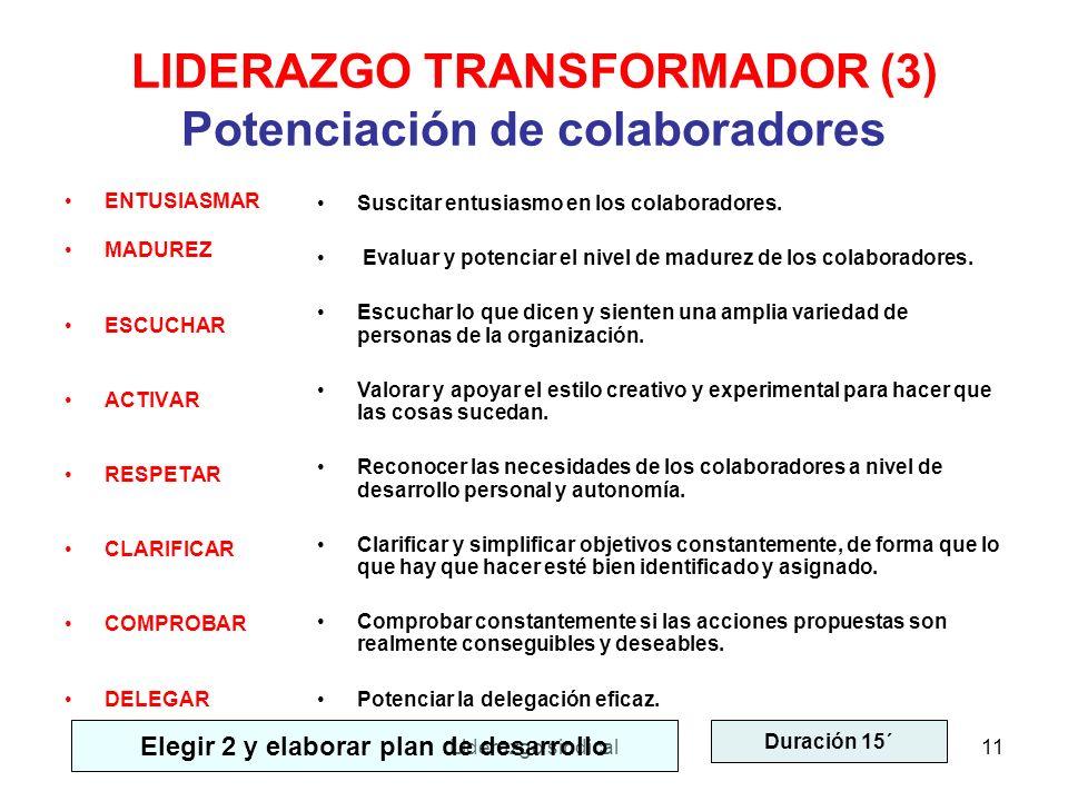 Liderazgo sindical11 LIDERAZGO TRANSFORMADOR (3) Potenciación de colaboradores ENTUSIASMAR MADUREZ ESCUCHAR ACTIVAR RESPETAR CLARIFICAR COMPROBAR DELE