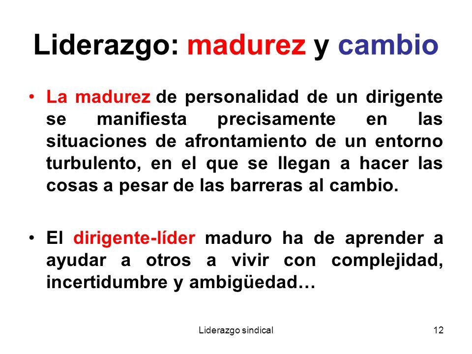 Liderazgo sindical12 Liderazgo: madurez y cambio La madurez de personalidad de un dirigente se manifiesta precisamente en las situaciones de afrontami