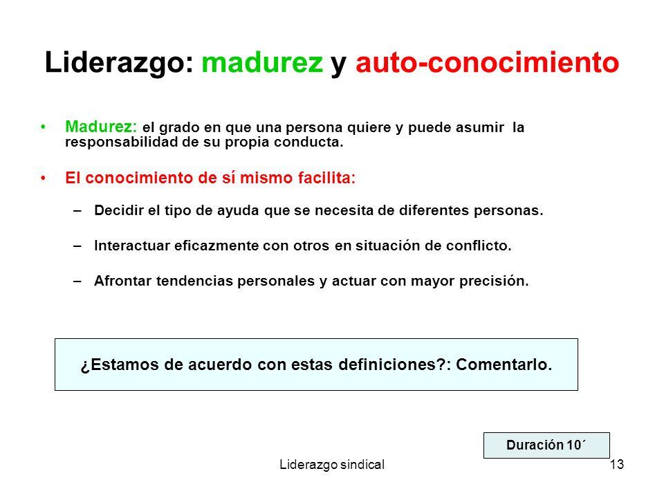 Liderazgo sindical13 Liderazgo: madurez y auto-conocimiento Madurez: el grado en que una persona quiere y puede asumir la responsabilidad de su propia