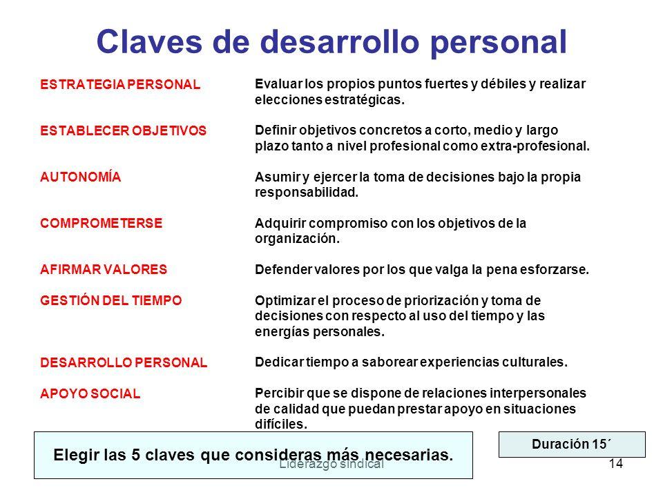 Liderazgo sindical14 Claves de desarrollo personal ESTRATEGIA PERSONAL ESTABLECER OBJETIVOS AUTONOMÍA COMPROMETERSE AFIRMAR VALORES GESTIÓN DEL TIEMPO
