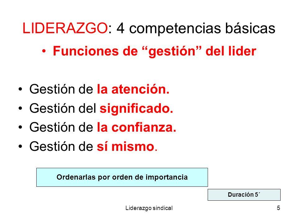 Liderazgo sindical5 LIDERAZGO: 4 competencias básicas Funciones de gestión del lider Gestión de la atención. Gestión del significado. Gestión de la co