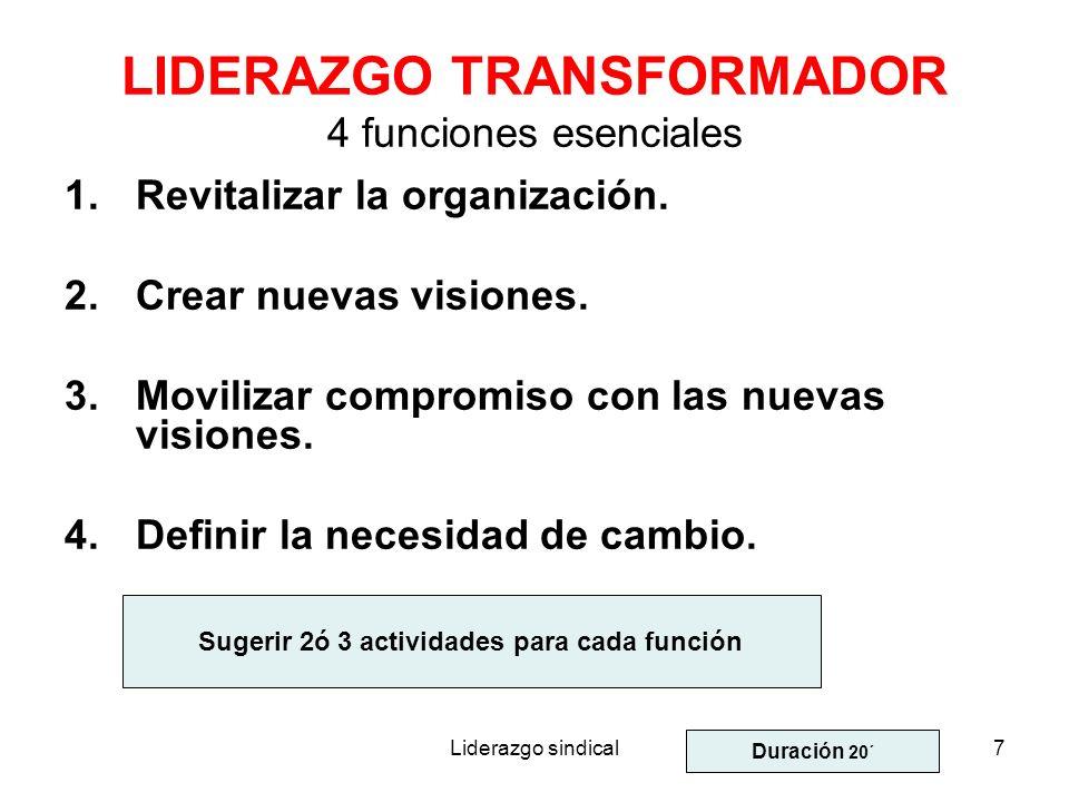 Liderazgo sindical7 LIDERAZGO TRANSFORMADOR 4 funciones esenciales 1.Revitalizar la organización. 2.Crear nuevas visiones. 3.Movilizar compromiso con