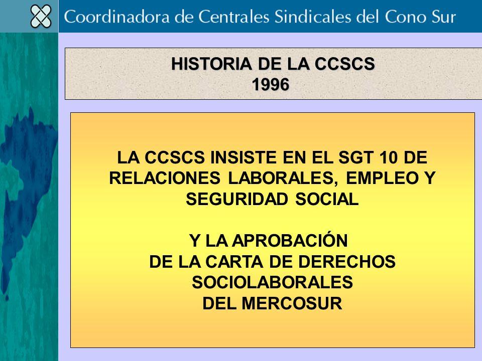 LA CCSCS INSISTE EN EL SGT 10 DE RELACIONES LABORALES, EMPLEO Y SEGURIDAD SOCIAL Y LA APROBACIÓN DE LA CARTA DE DERECHOS SOCIOLABORALES DEL MERCOSUR HISTORIA DE LA CCSCS 1996