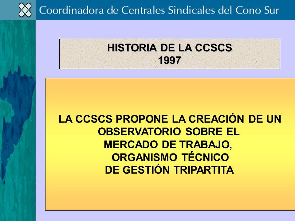LA CCSCS PROPONE LA CREACIÓN DE UN OBSERVATORIO SOBRE EL MERCADO DE TRABAJO, ORGANISMO TÉCNICO DE GESTIÓN TRIPARTITA HISTORIA DE LA CCSCS 1997