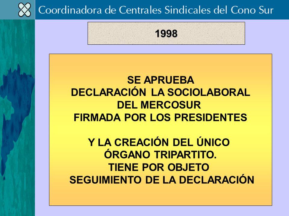 SE APRUEBA DECLARACIÓN LA SOCIOLABORAL DEL MERCOSUR FIRMADA POR LOS PRESIDENTES Y LA CREACIÓN DEL ÚNICO ÓRGANO TRIPARTITO.