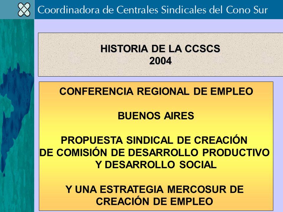 CONFERENCIA REGIONAL DE EMPLEO BUENOS AIRES PROPUESTA SINDICAL DE CREACIÓN DE COMISIÓN DE DESARROLLO PRODUCTIVO Y DESARROLLO SOCIAL Y UNA ESTRATEGIA MERCOSUR DE CREACIÓN DE EMPLEO HISTORIA DE LA CCSCS 2004
