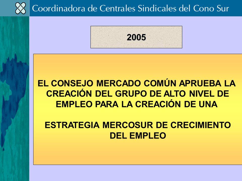 EL CONSEJO MERCADO COMÚN APRUEBA LA CREACIÓN DEL GRUPO DE ALTO NIVEL DE EMPLEO PARA LA CREACIÓN DE UNA ESTRATEGIA MERCOSUR DE CRECIMIENTO DEL EMPLEO 2005