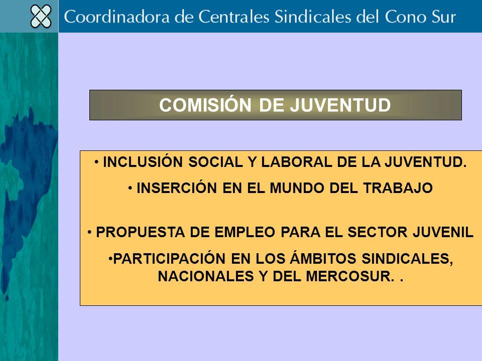 COMISIÓN DE JUVENTUD INCLUSIÓN SOCIAL Y LABORAL DE LA JUVENTUD.