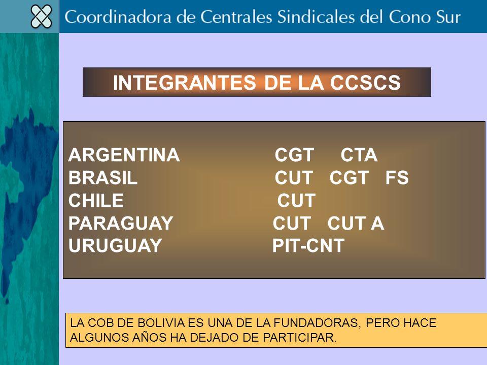 ARGENTINA CGT CTA BRASIL CUT CGT FS CHILE CUT PARAGUAY CUT CUT A URUGUAY PIT-CNT INTEGRANTES DE LA CCSCS LA COB DE BOLIVIA ES UNA DE LA FUNDADORAS, PERO HACE ALGUNOS AÑOS HA DEJADO DE PARTICIPAR.