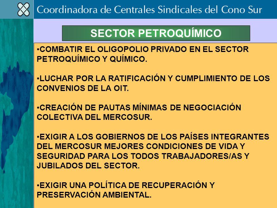 SECTOR PETROQUÍMICO COMBATIR EL OLIGOPOLIO PRIVADO EN EL SECTOR PETROQUÍMICO Y QUÍMICO.