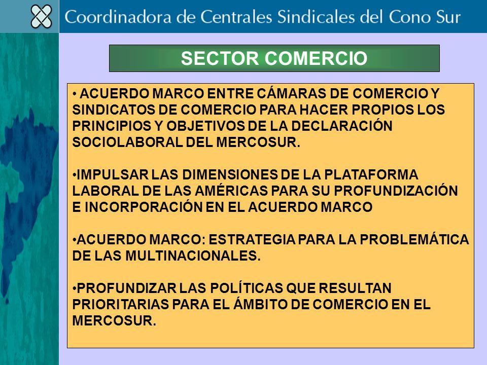 SECTOR COMERCIO ACUERDO MARCO ENTRE CÁMARAS DE COMERCIO Y SINDICATOS DE COMERCIO PARA HACER PROPIOS LOS PRINCIPIOS Y OBJETIVOS DE LA DECLARACIÓN SOCIOLABORAL DEL MERCOSUR.