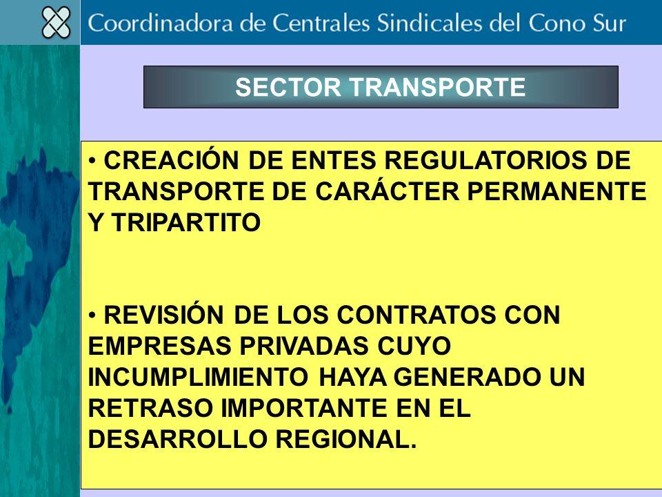 SECTOR TRANSPORTE CREACIÓN DE ENTES REGULATORIOS DE TRANSPORTE DE CARÁCTER PERMANENTE Y TRIPARTITO REVISIÓN DE LOS CONTRATOS CON EMPRESAS PRIVADAS CUYO INCUMPLIMIENTO HAYA GENERADO UN RETRASO IMPORTANTE EN EL DESARROLLO REGIONAL.