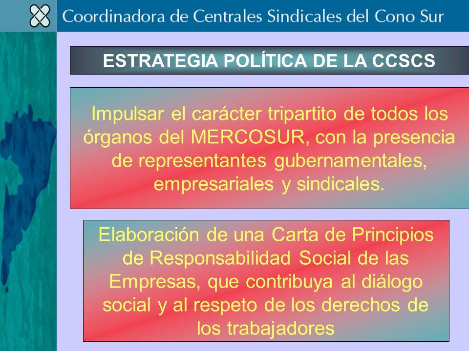 ESTRATEGIA POLÍTICA DE LA CCSCS Impulsar el carácter tripartito de todos los órganos del MERCOSUR, con la presencia de representantes gubernamentales, empresariales y sindicales.