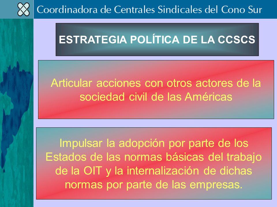 ESTRATEGIA POLÍTICA DE LA CCSCS Articular acciones con otros actores de la sociedad civil de las Américas Impulsar la adopción por parte de los Estados de las normas básicas del trabajo de la OIT y la internalización de dichas normas por parte de las empresas.