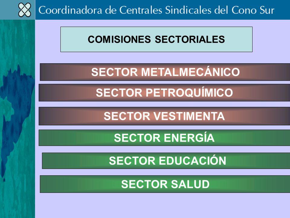 SECTOR PETROQUÍMICO SECTOR VESTIMENTA SECTOR METALMECÁNICO SECTOR EDUCACIÓN SECTOR SALUD SECTOR ENERGÍA COMISIONES SECTORIALES