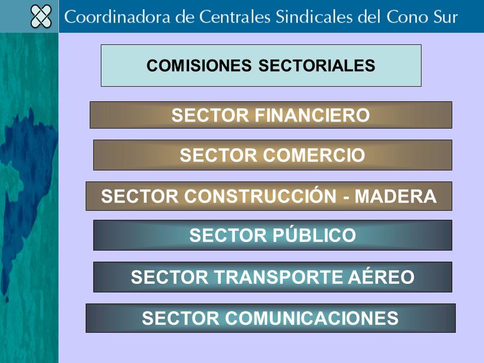 SECTOR COMERCIO SECTOR CONSTRUCCIÓN - MADERA SECTOR FINANCIERO SECTOR TRANSPORTE AÉREO SECTOR COMUNICACIONES SECTOR PÚBLICO COMISIONES SECTORIALES