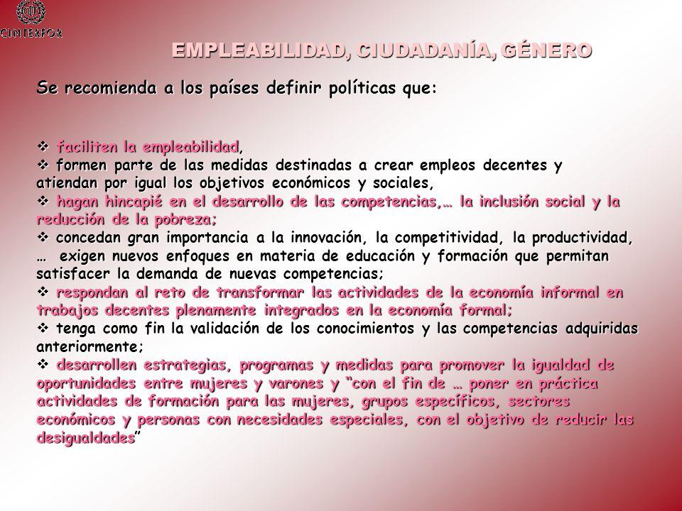 Se recomienda a los países definir políticas que: faciliten la empleabilidad, faciliten la empleabilidad, formen parte de las medidas destinadas a cre
