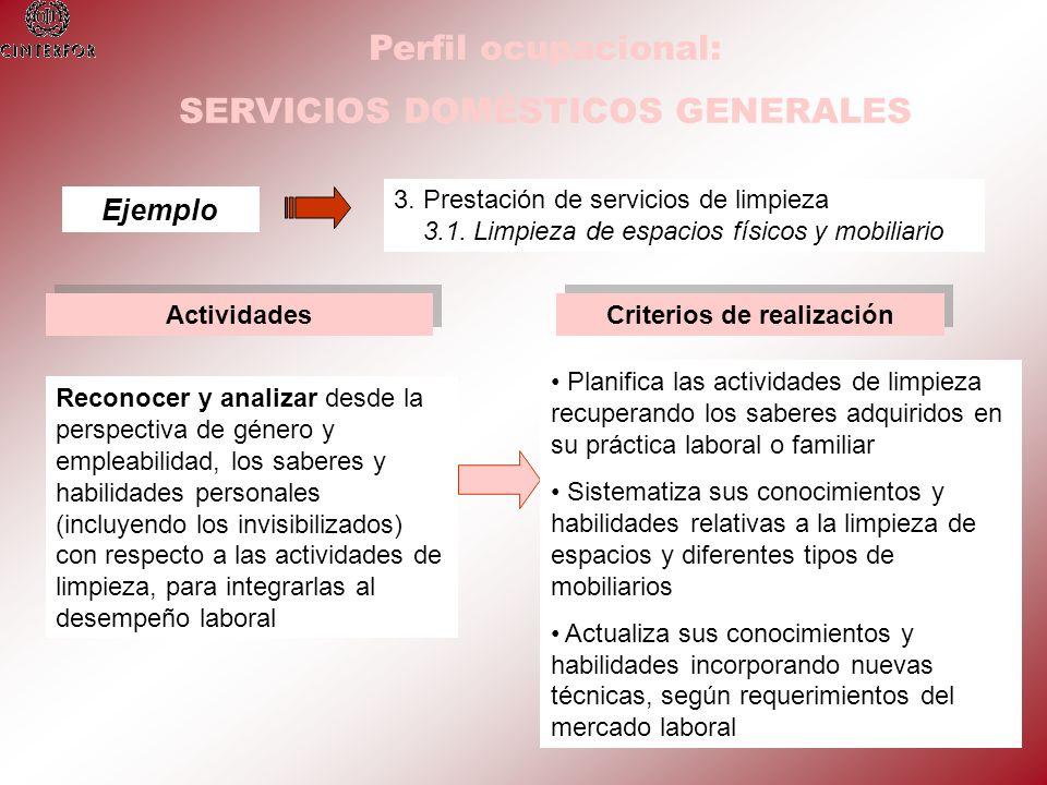 Perfil ocupacional: SERVICIOS DOMÉSTICOS GENERALES Ejemplo 3. Prestación de servicios de limpieza 3.1. Limpieza de espacios físicos y mobiliario Activ