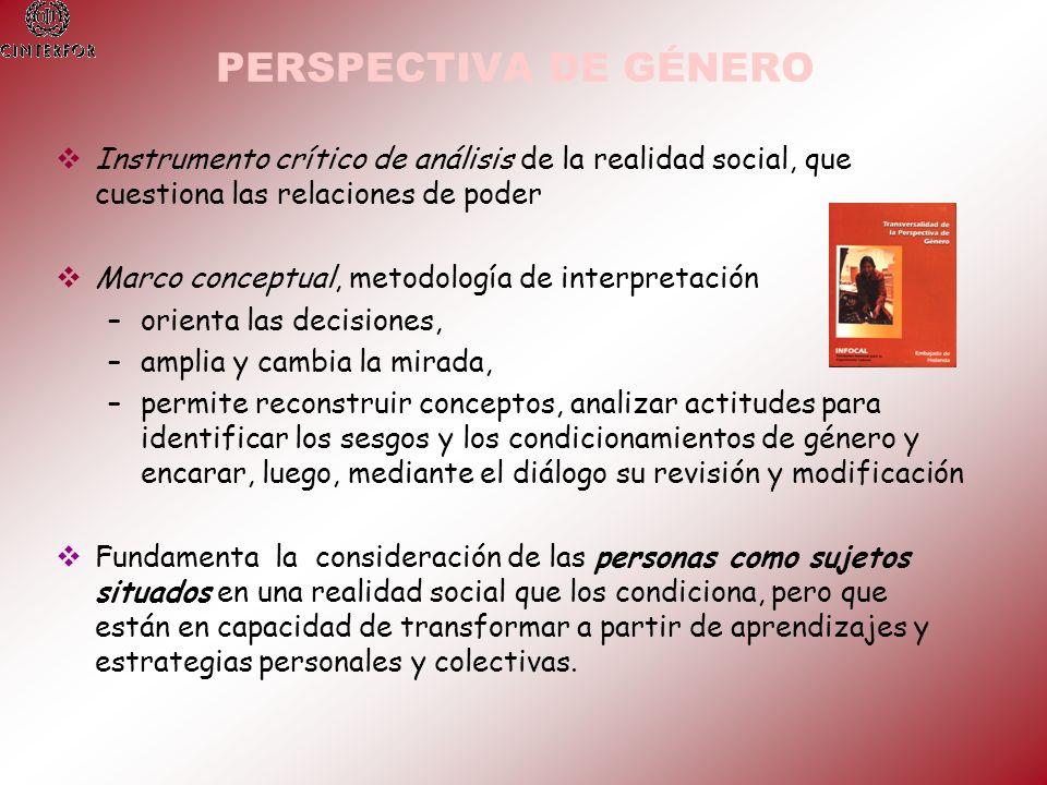 PERSPECTIVA DE GÉNERO Instrumento crítico de análisis de la realidad social, que cuestiona las relaciones de poder Marco conceptual, metodología de in