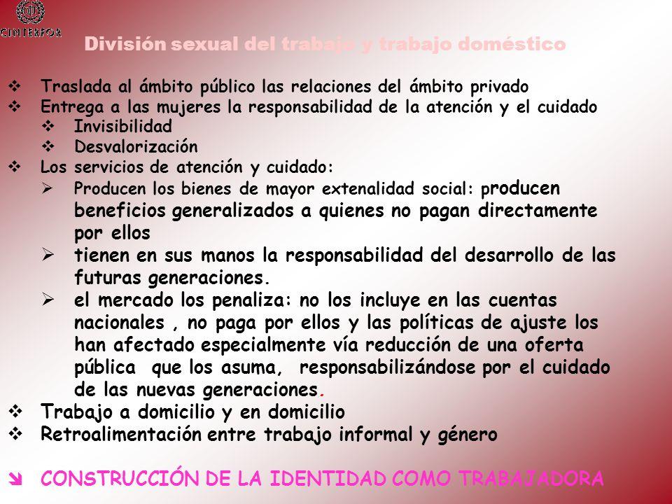 División sexual del trabajo y trabajo doméstico Traslada al ámbito público las relaciones del ámbito privado Entrega a las mujeres la responsabilidad