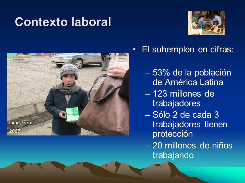 El subempleo en cifras: –53% de la población de América Latina –123 millones de trabajadores –Sólo 2 de cada 3 trabajadores tienen protección –20 mill