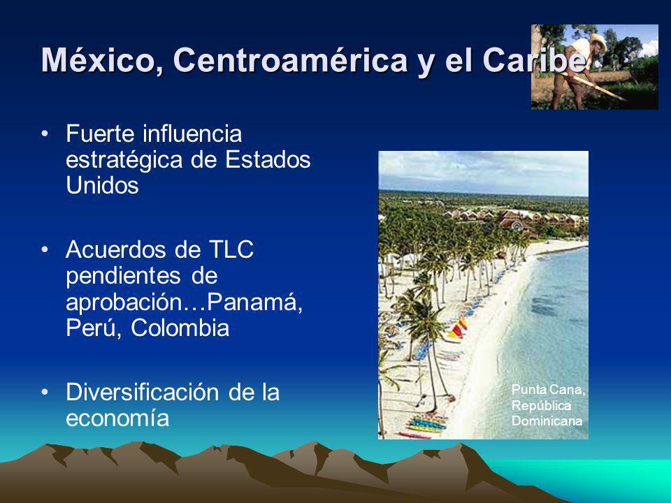 México, Centroamérica y el Caribe Fuerte influencia estratégica de Estados Unidos Acuerdos de TLC pendientes de aprobación…Panamá, Perú, Colombia Dive