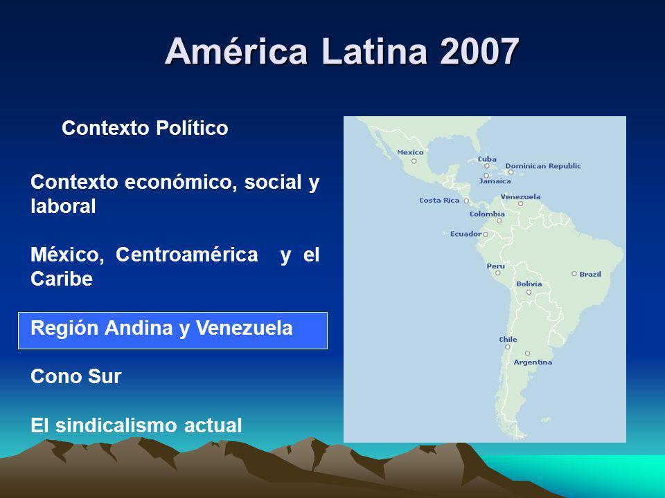 América Latina 2007 Contexto económico, social y laboral México, Centroamérica y el Caribe Región Andina y Venezuela Cono Sur El sindicalismo actual C