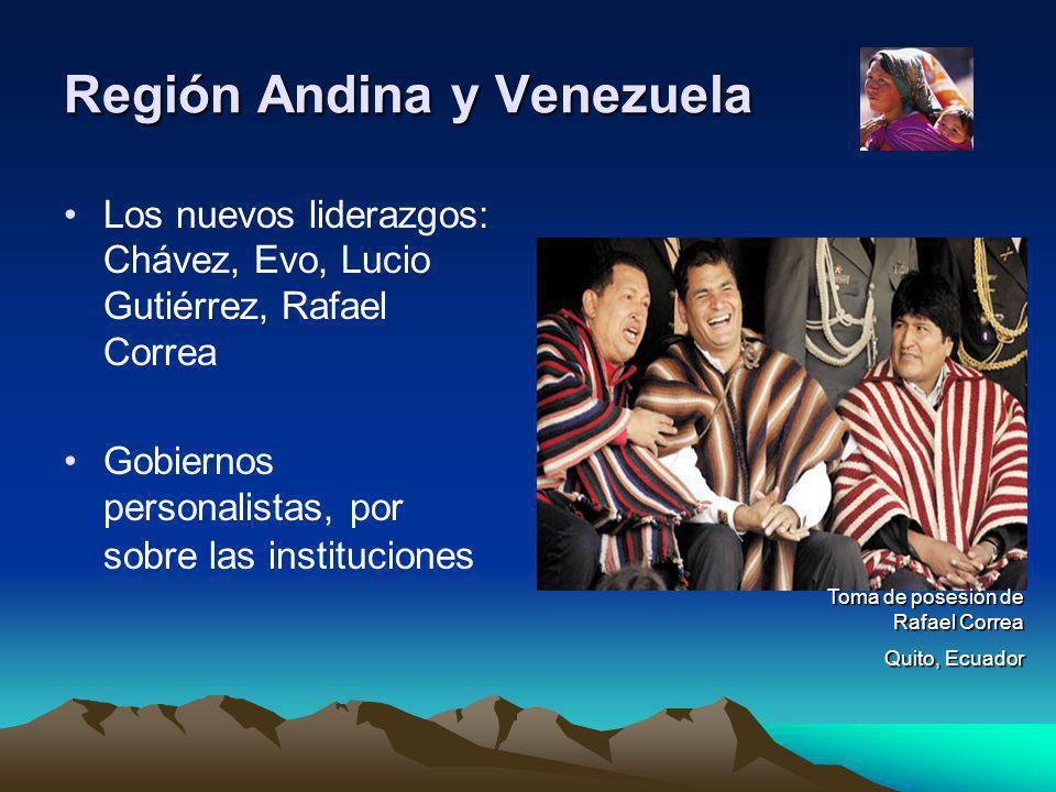 Región Andina y Venezuela Los nuevos liderazgos: Chávez, Evo, Lucio Gutiérrez, Rafael Correa Gobiernos personalistas, por sobre las instituciones Toma