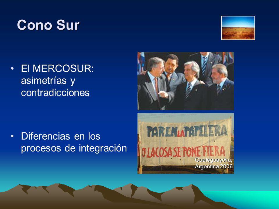 Cono Sur El MERCOSUR: asimetrías y contradicciones Diferencias en los procesos de integración Gualeguaychú, Argentina 2006
