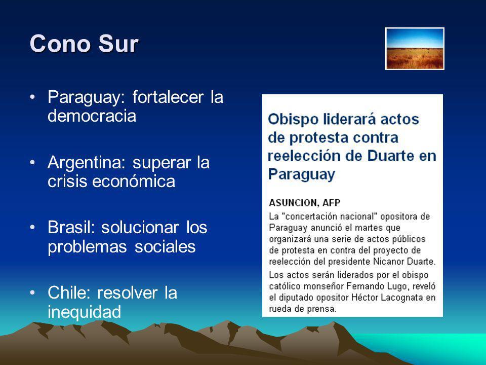 Cono Sur Paraguay: fortalecer la democracia Argentina: superar la crisis económica Brasil: solucionar los problemas sociales Chile: resolver la inequi