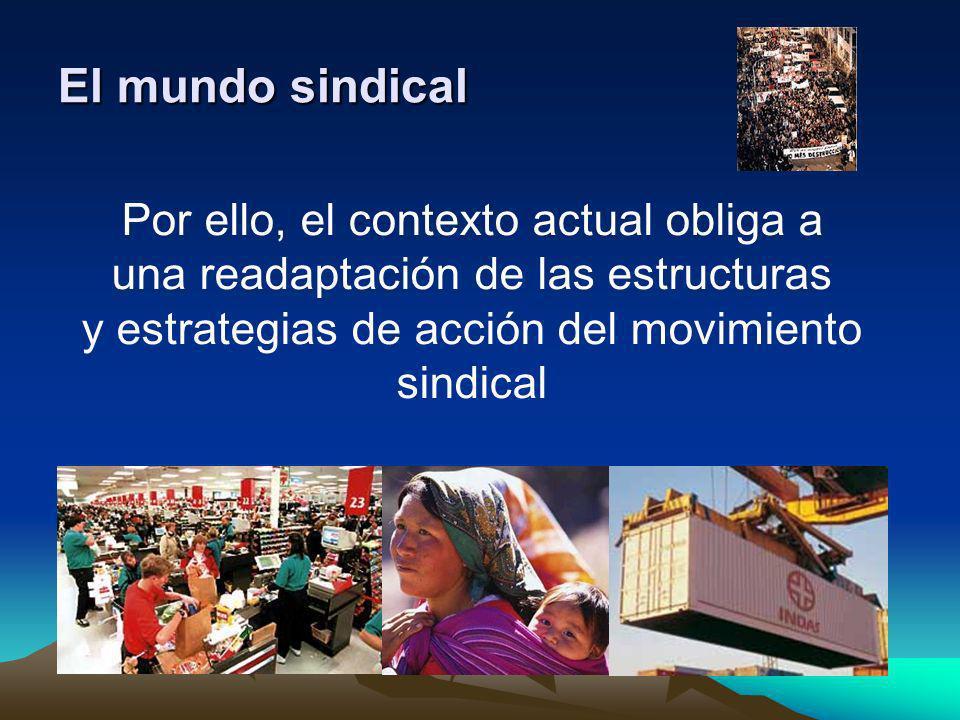 El mundo sindical Por ello, el contexto actual obliga a una readaptación de las estructuras y estrategias de acción del movimiento sindical