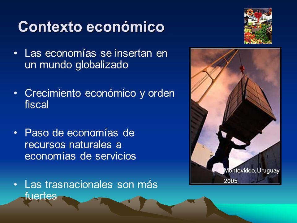 Contexto económico Las economías se insertan en un mundo globalizado Crecimiento económico y orden fiscal Paso de economías de recursos naturales a ec